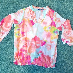 Watercolor Floral Chiffon Blouse, PMed